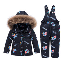 -30 Degree Winter Warm Down Jacket Children Clothing Sets Toddler Boys Down Coats + Overalls Kids Snowsuit For Girls 1-5 Years(China)
