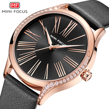 MINI FOCUS Black Watch Women Gold Fashion Womans Ladies Diamond Leather Designer Brand Luxury Quartz