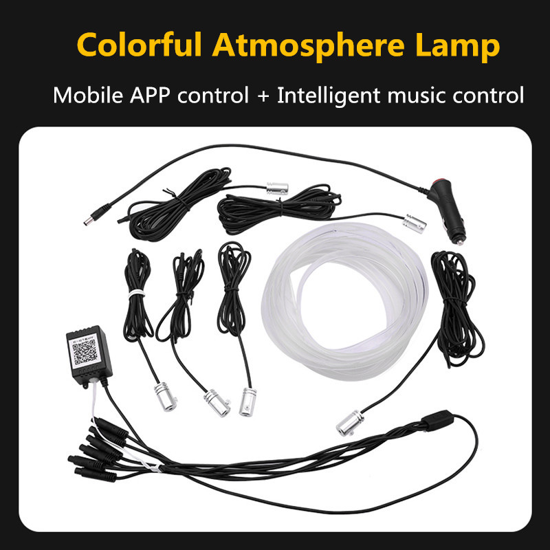 Car Interior Ambient Light Voice Sound Neon RGB LED Strip Light 6M/10M Multicolor Bluetooth Phone Control Atmosphere Light 12V