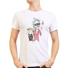 Men T Shirt Rick and Morty Summer Anime White Cartoon Funny Print Male Tshirt Short Sleeve O-neck Vintage Streetwear T-shirt top недорого