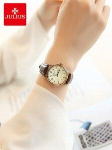 Image 5 - Üst Julius kadın İzle Japonya Kuvars Saat Otomatik Tarih Ince Moda Saat Deri Kayış kızın Retro Doğum Günü Hediye kutu 508