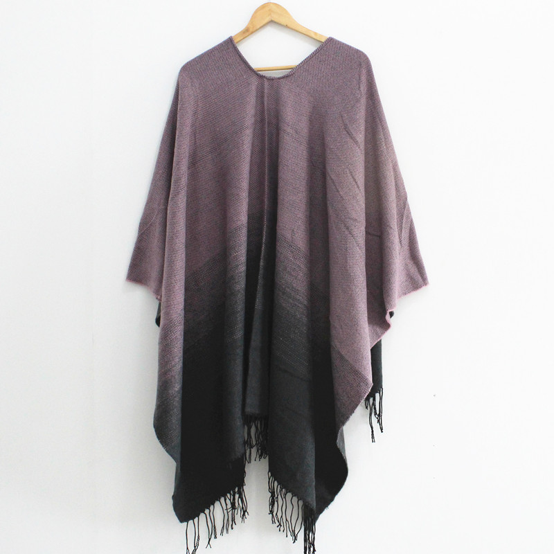 Women Gradient Sweater Poncho Cape Coat Open Front Blanket Shawls and Wraps Winter And Fall Scarf Pashmina With Tassel Female in Women 39 s Scarves from Apparel Accessories