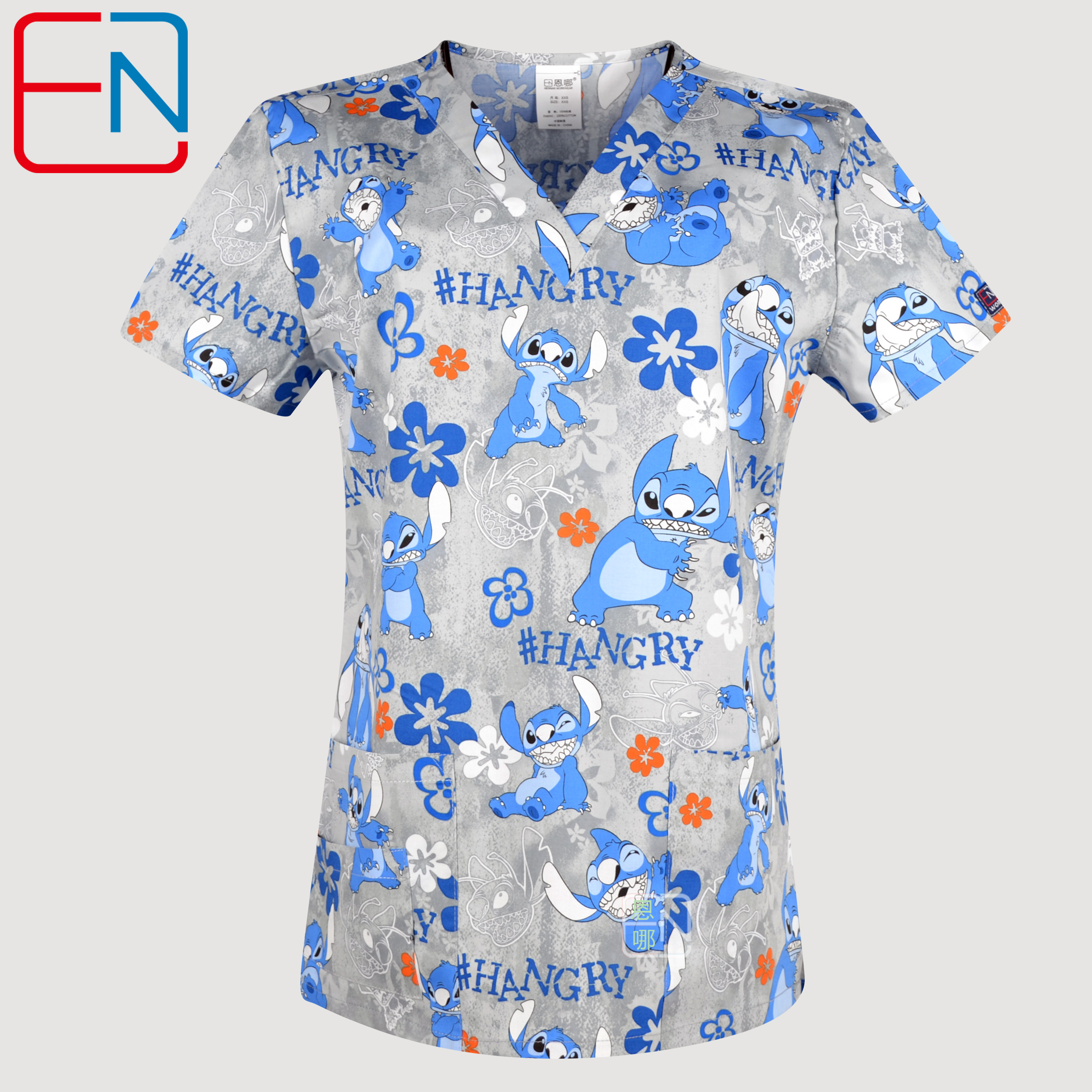 NEW Hennar Women Scrub Top With V-Neck 100% Cotton Print Surgical Medical Uniforms Hospital Nurse Scrub Tops For Women