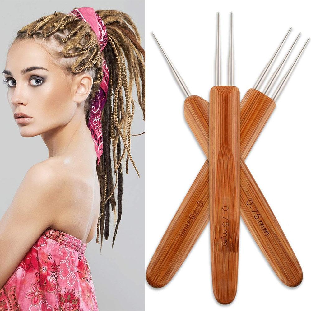 1Pcs/Lot 1 Hook 2 Hooks 3 Hooks Three Style Dreadlock Needle For Braid 0.5Mm 0.75Mm Natural Bamboo Dread-Lock Hair Weaving Tool