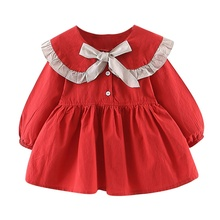 Cute Round Collar Sweet Baby Girls Dress Spring Autumn Newborn Bow Solid Color Princess Dress Birthday Costume Infant Clothes