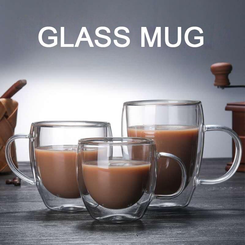 Прозрачная стеклянная кофейная чашка, чашка для молока, виски, чая, пива, двойная креативная термостойкая Коктейльная водка, кружка для вина...