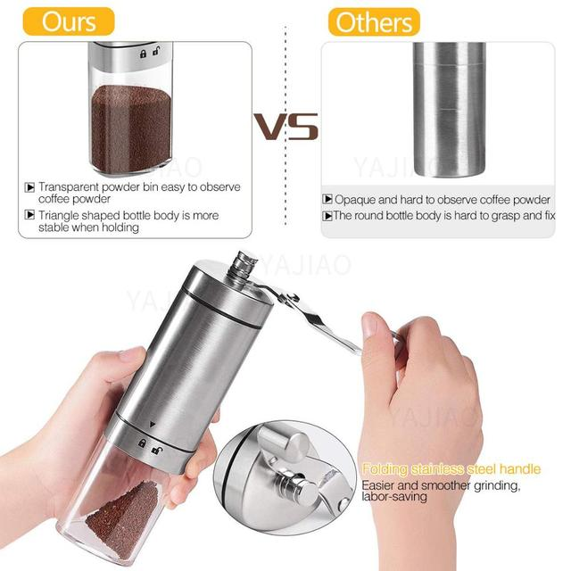 YAJIAO Portable Manual Coffee Grinder Transparent Stainless Steel Hand Crank Coffee Machine for Travel, Camping, Backpacking 3