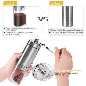 Image 3 - Yajiaoポータブル手動コーヒーグラインダー透明ステンレス鋼ハンドクランクコーヒーマシンのための旅行、キャンプ、バックパッキング、