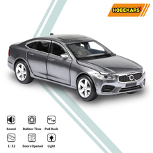 HOBEKARS 1:32 Diecast Model Car Simulation S90 Metal Alloy Toy Vehicles With Sound And Light Pull Back For Children Gifts 1 32 toy car simulation alloy catapult chariot three in one children sound and light pull back toy racing car ornaments model