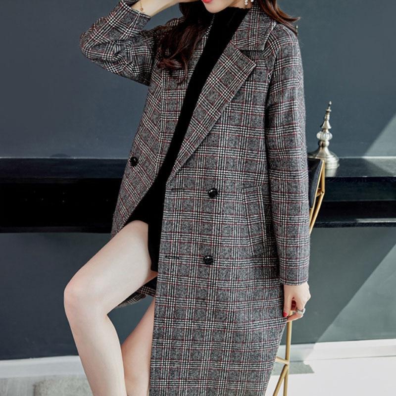 Winter Tweed Wool Designer Blazer Women's Thicken Blends Jackets Pockets Female Long Suits Coat Loose Oversize Woman Blazer 0074