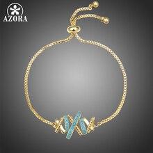 AZORA Trendy Hollowed Flower Chain Link Bracelets Blue Cubic Zirconia Micro Pave Bangles Pulseira Feminina Jewelry Gift TS0213
