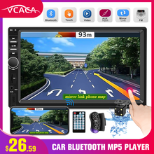 "VCACA 7 ""2Din Bluetooth Multimedia Player Mobil Auto Radio HD Layar Sentuh MP5 Stereo FM/AUX Dukungan Android/ Iphone Cermin Link(China)"