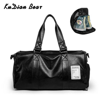 KUDIAN BEAR Men Travel Bag Luggage Organizer Shoes Pouch PU Leather Sports Handbag Travelling Bags Large Bolso Viaje BIX315 PM49