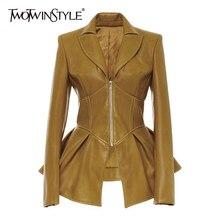 TWOTWINSTYLE Байкерская стильная Лоскутная нестандартная Женская куртка с воротником с лацканами и длинным рукавом, туника для женщин, модное пальто