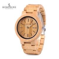 BOBO VOGEL LP23 Drop Verschiffen Designer Bambus Holz Uhren Männer mit Edelstahl Schließe Quarz Relogio in Box-in Quarz-Uhren aus Uhren bei