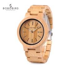 Bobo pássaro lp23 drop shipping designer de bambu relógios de madeira homem com fecho de aço inoxidável quartzo relogio na caixa