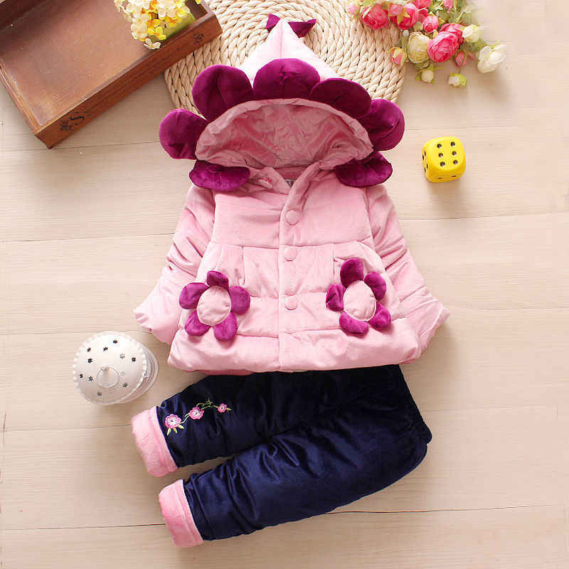 Winter Toddler Girls Clothes Sets New Baby Girls Kids Thick Cotton 3pcs Hoodies+tops+pants Outfits  For Infant Baby Warm Suit