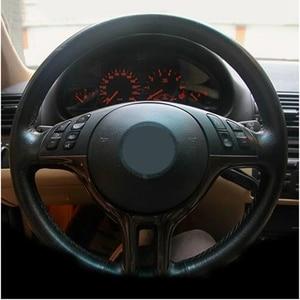 Image 3 - DIY יד תפור שחור זמש עור רכב הגה כיסוי עבור BMW X5 E39 E46 325i E53