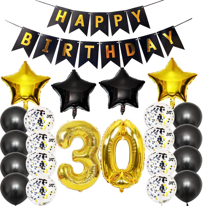 8SEASON 30th 40th 50th 60th <font><b>70th</b></font> <font><b>Birthday</b></font> Decorations Kit Black Gold Confetti Balloon Happy <font><b>Birthday</b></font> Banner Theme Party Supplies image