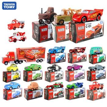 Coches Takara Tomy de 5-8 cm, genuinos juguetes de aleación, coche de carreras, movimiento general, Lightning McQueen, vehículos de juguete con Diecast