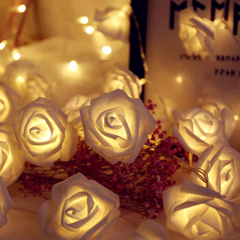 YINUO CANDLE 1.5/2.5M Rose Flower LED String Lights Battery Operated Christmas Holiday Lights For Valentine Wedding Decoration