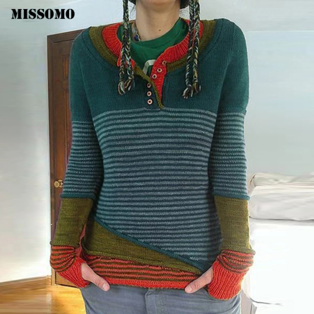 MISSOMO Sweater Women Plus Size Vintage Casual Striped Patchwork Button V-Neck Knitted Oversize Sweater Pullover Tops Pull Femme
