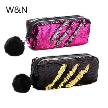 School Pencil Case Reversible Sequin Hairball Pencil Case For Girls Cute Pencil Box Kawaii Student Supplies Stationery Gift new gold pencil case reversible sequin school supplies bts stationery gift cute pencil box pencilcase school tools pencil cases