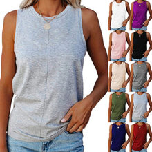 Fashion Loose Pullover O-Neck Sleeveless Solid Color Tank T-shirt Casual Cotton Patchwork Tank Tops 10 Color Plus Size S-5XL