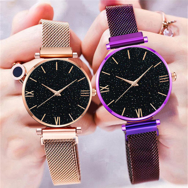 Luxury Women Watches Fashion Rose Gold Magnet Purple Ladies Wristwatch Mesh Brand 2019 New Starry Sky Roman Numeral Gift Clock
