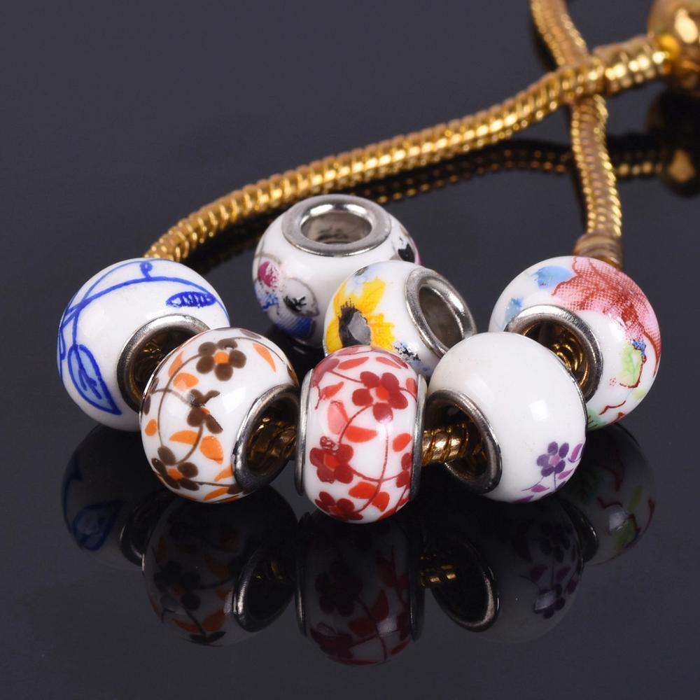 10Pcs Charm Round Ceramic Porcelain Loose Spacer Big Hole Beads Jewelry Making