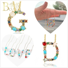 BOAKO Crystal Necklace Women Long Chain Initial Letter Wedding Statement Pendant Girl Sweater Z5