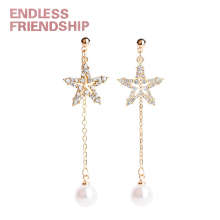 Endless Friendship Gold Diamond Star Pearl Earrings For Women Geometric Earring European Design Dropshipping Gift