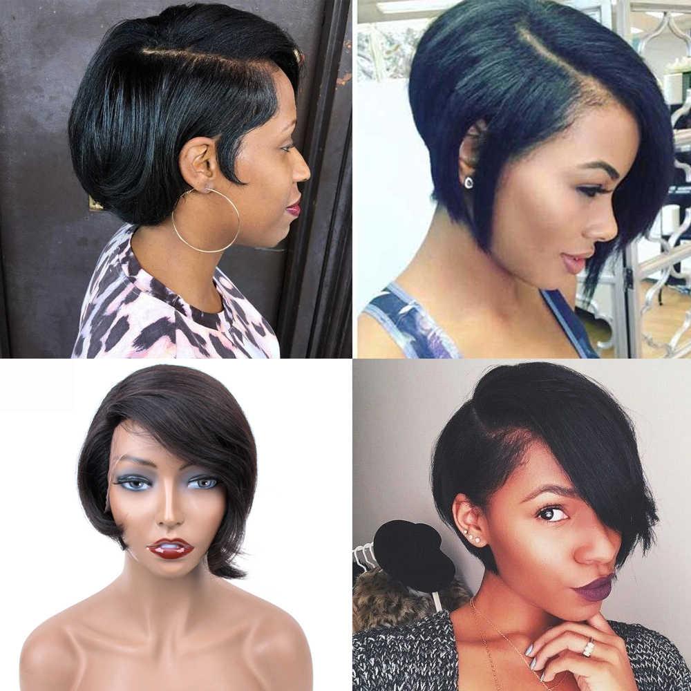 Saphir Kurze Pixie Spitze Perücken Pixie Cut Perücke Gerade Brasilianische Remy Haar 150% Dichte Maschine Made Menschliches Haar Perücken Für frauen