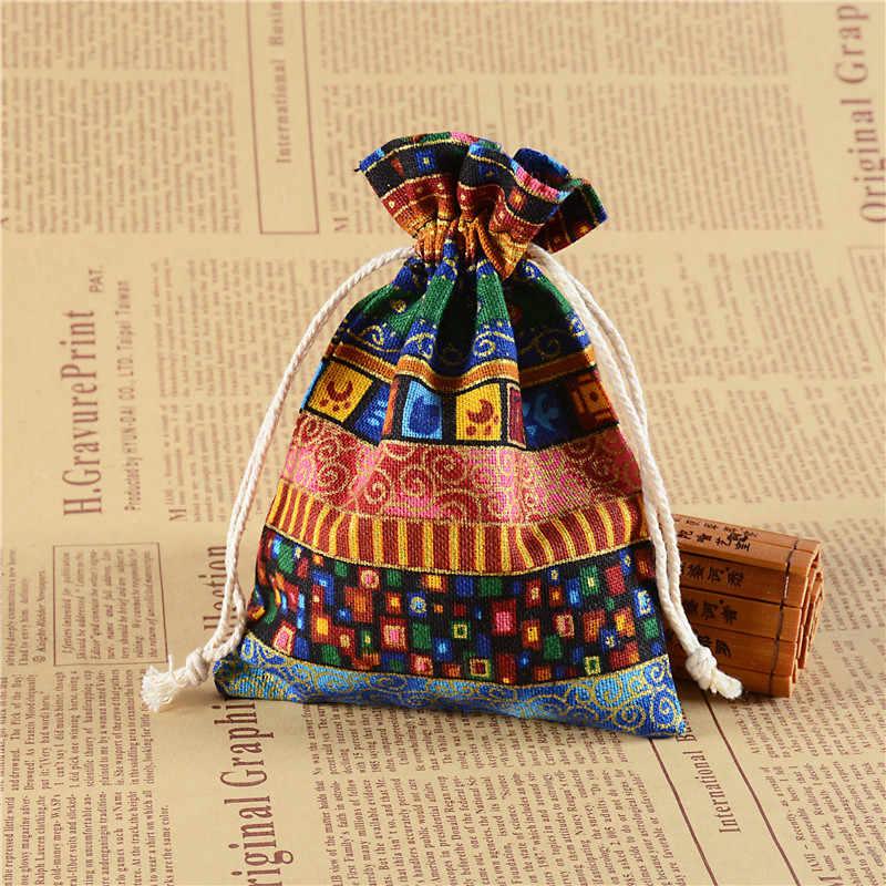 1 Uds. Bolsa de almacenamiento con cordón con impresión de viento étnico, bolsa de algodón con cordón, bolsa de cosméticos para joyería, bolsa de embalaje de dulces para regalo
