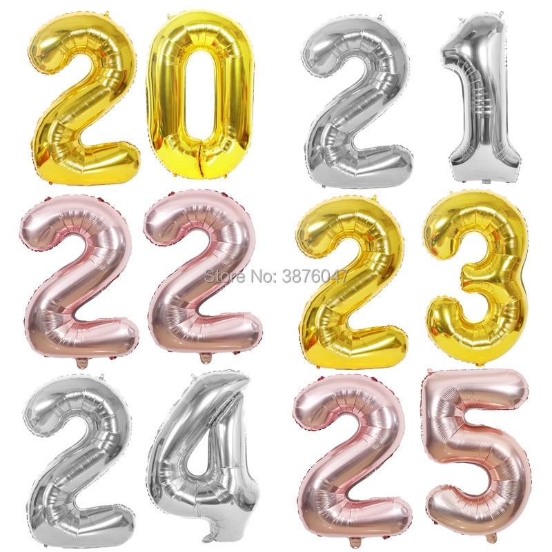40-дюймовый шар с цифрами 20, 21, 22, 23, 24, 25, золотой, серебряный, юбилей, вечеринка, украшение, 20, 21, 22, 23, 24, 25, день рождения