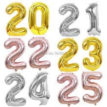 Polegada número 40 20 21 22 23 24 25 balão festa de bodas de prata ouro decoração 20th 21st 22nd 23rd 24th 25th aniversário balões