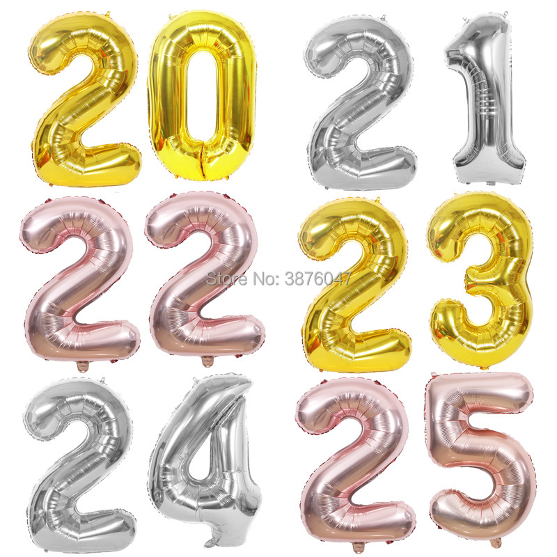 40inch number 20 21 22 23 24 25 balloon gold silver anniversary party <font><b>decoration</b></font> <font><b>20th</b></font> 21st 22nd 23rd 24th 25th <font><b>birthday</b></font> balloons image