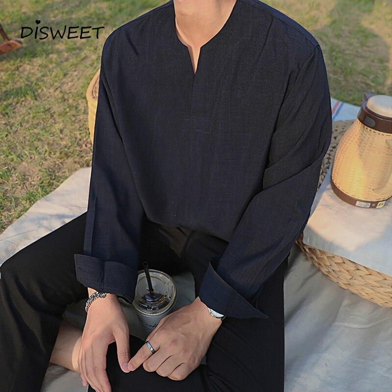 Solid V-neck Shirt Men Korean Long Sleeve Loose Men's Shirt