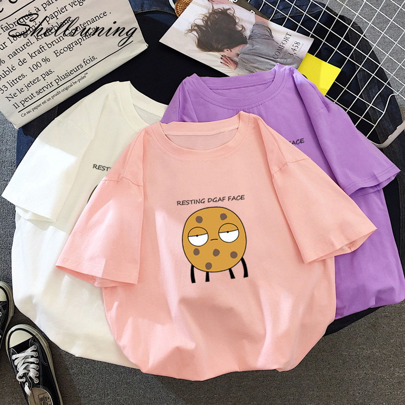 Shellsuning Jumper Top Women Cartoon Cute T Shirt Female Harajuku Casual Basic Wide Kawaii Elastic Clothes Short-sleeve Soft Tee