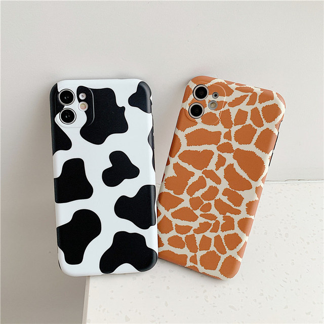 Leopard Print Pattern Cow Phone Case For iPhone 11 12Pro X XR XS Max 8 7 Plus SE 2020 Lens Camera Protection Soft IMD Back Cover 4