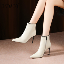 Winter Boots Black Leather Ankle for Women Thin High Heel Shoes 8.5cm