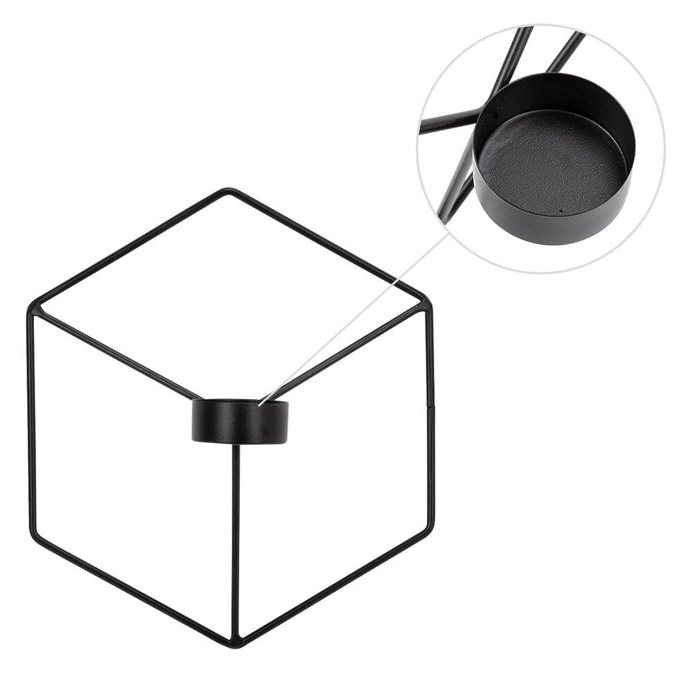 Moderne minimaliste forme carrée 3D bougeoir forme géométrique créatif ornement accessoires bougie romantique ornements noir