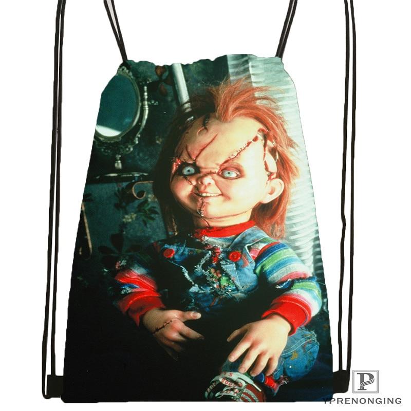 Custom Curse-Of-Chucky Drawstring Backpack Bag Cute Daypack Kids Satchel (Black Back) 31x40cm#180611-01-22