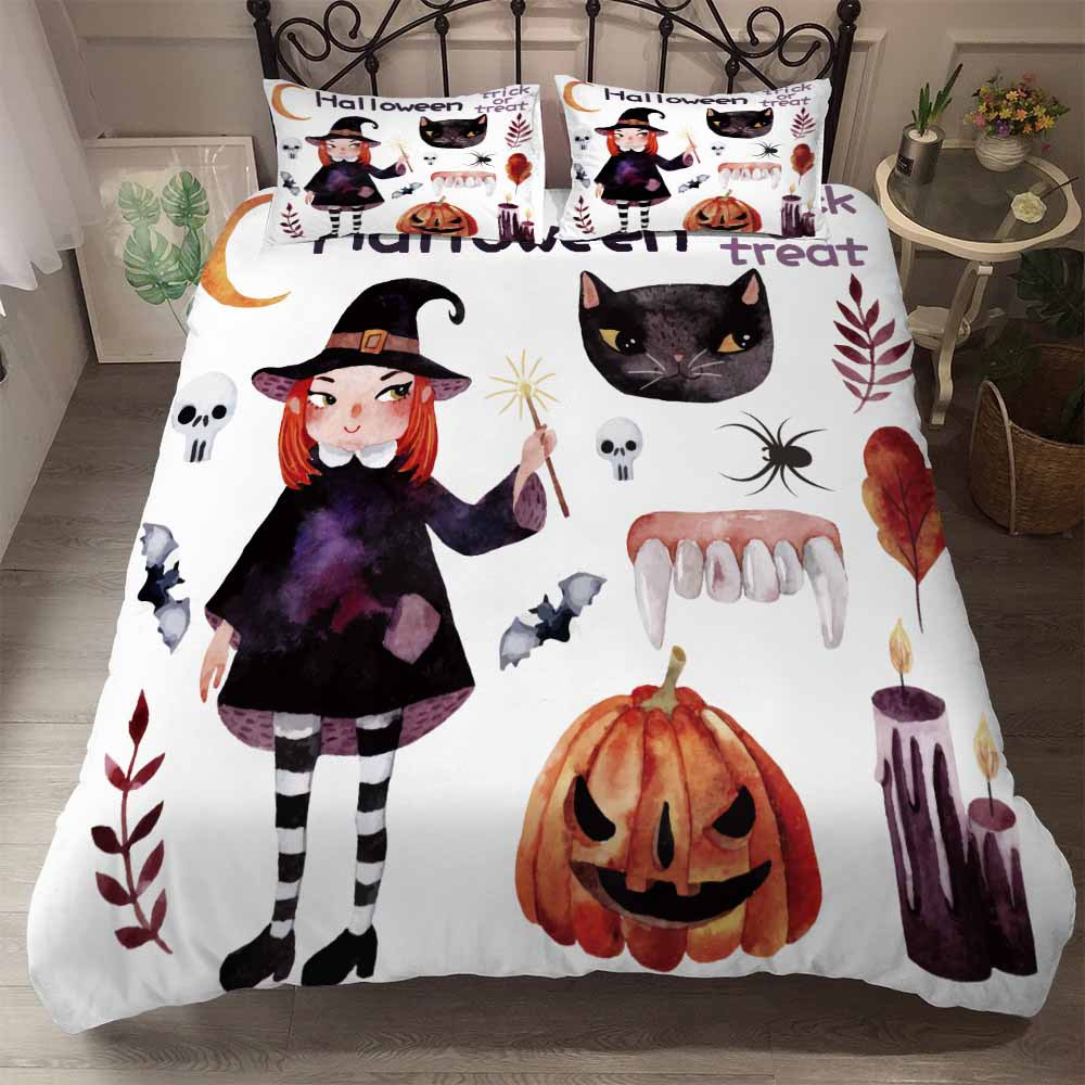 Halloween Bedding Set Kids Duvet Cover Set Pumpkin Witch Bed Cover Set Twin Queen King Size Bedspread White Blue Bed Linen Adult