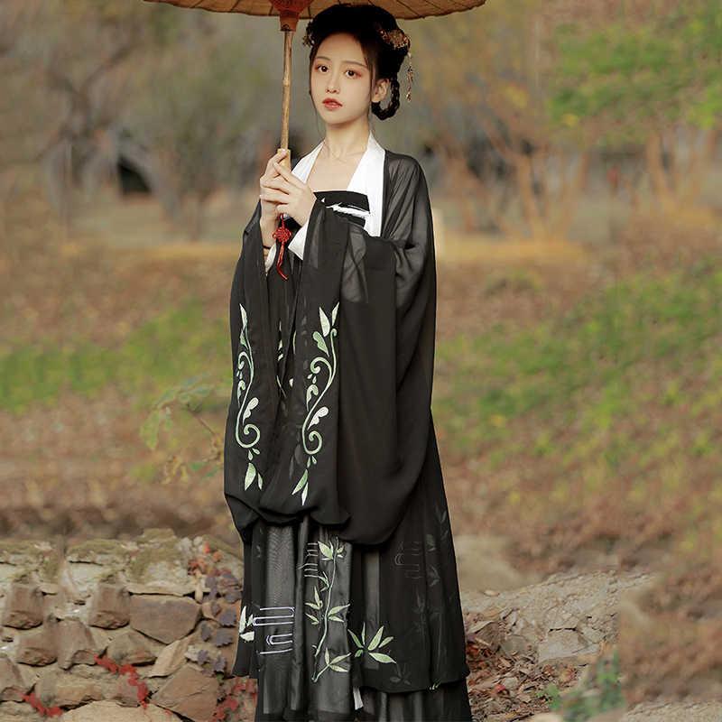 الصينية التقليدية Hanfu الأسود تانغ سلالة تظهر فستان الإناث الكبار الكلاسيكية الرقص ملابس النساء مهرجان الزي DNV12762