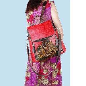 Image 3 - Johnature rétro en cuir véritable à fleurs de haute qualité femmes sac à dos de luxe 2020 nouveau sac à dos de voyage en peau de vache grande capacité