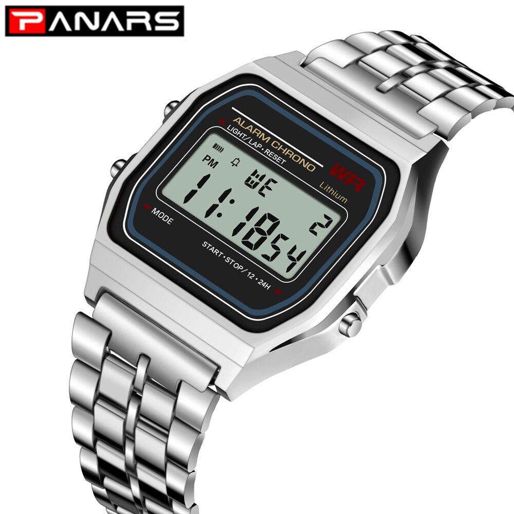 PANARS 2019 Classic SPORT Watch G Luxury Brand Design LED Ladies Shock Wristwatch Waterproof Clock For Men Women Cheap Silver