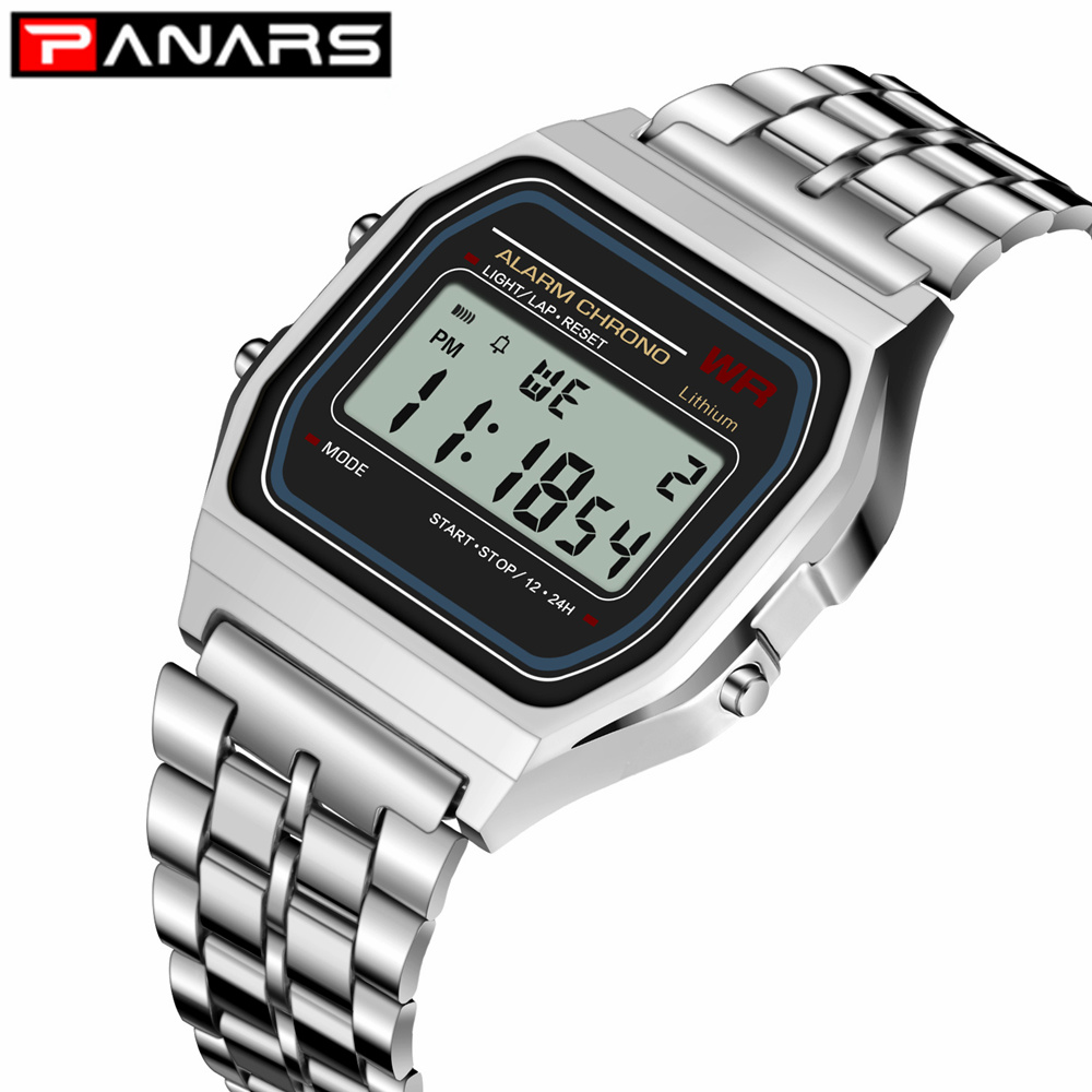 PANARS 2019 Classic SPORT Watch G Luxury Brand Design LED Ladies Shock Wristwatch Waterproof Clock For Men Women Cheap Silver