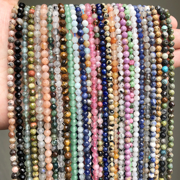 Faceted Natural Stone Bead 2/3/4mm Emeralds Agates Crystal Gems Loose Beads for Jewelry Making Tiny Beadwork DIY Bracelet 15''
