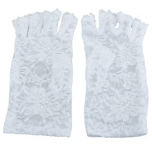 WHITE FINGERLESS SHORT LACE GLOVES FANCY DRESS FRENCH MAID MADONNA 80s(China)